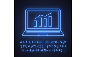 Statistics neon light icon