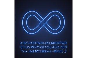 Infinity neon light icon