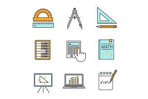 Mathematics color icons set