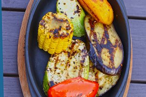 grilled vegetables on iron plate