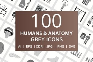 100 Humans & Anatomy Greyscale Icons