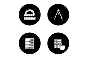 Mathematics glyph icons set