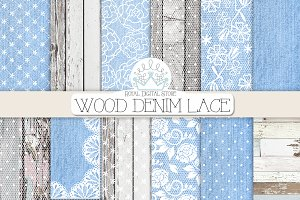 WOOD DENIM LACE digital paper