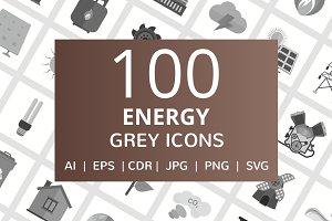 100 Energy Greyscale Icons