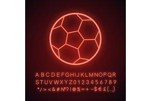 Soccer ball neon light icon