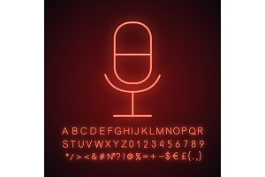Microphone neon light icon