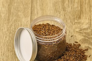 Red rice in glass Jar