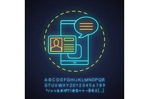 Account creating neon light icon