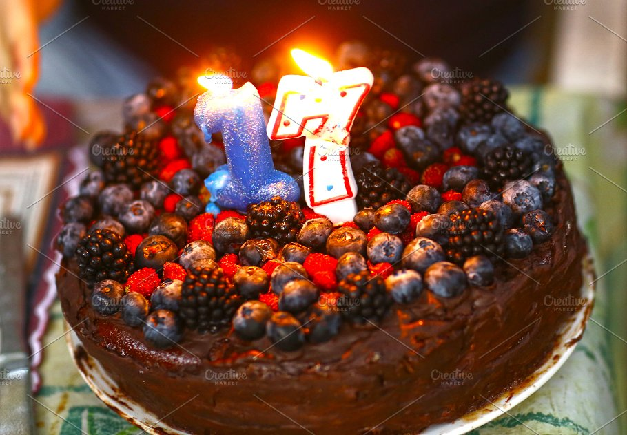 Birthday Cake For 17 Year Old Girl Abstract Photos Creative Market