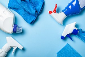 Cleaning supplies - bottles, sprays