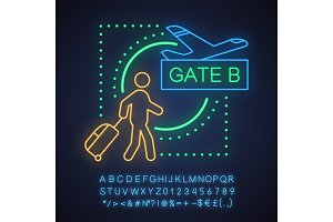 Airport neon light concept icon
