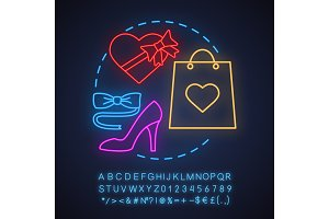 Romantic date neon light icon