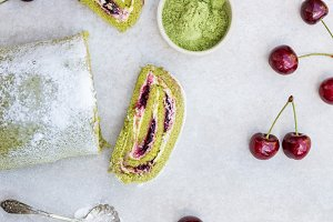 Morello Cherry and Matcha Roulade