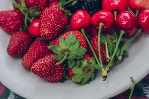 Strawberries, mulberries and cherrie