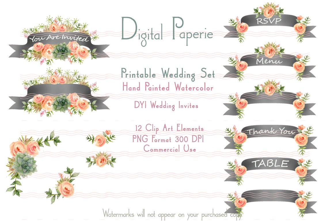 printable dyi wedding set banners invitation templates creative market