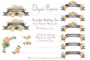 Printable DYI Wedding Set Banners