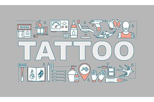 Tattoo studio word concepts banner