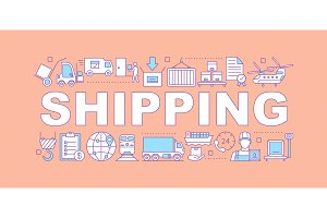 Cargo shipping word concepts banner