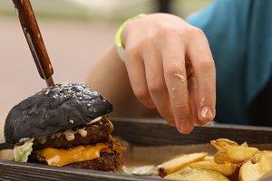 huge hamburger burger with cheese
