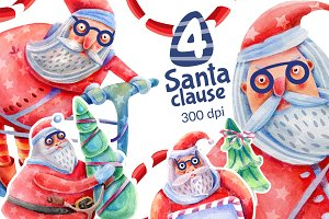 Santa Claus watercolor and Christmas