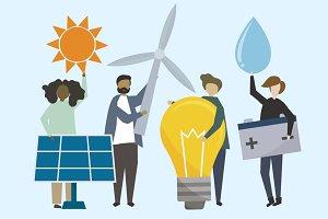 Renewable energy illustrations