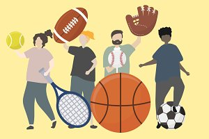 people sport equipments illustration