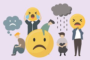 sad and angry emojis illustration