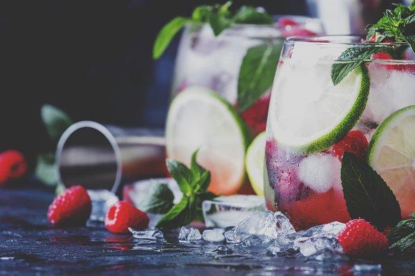 Food Stock Photos: 5PH - Summer cool alcoholic cocktail raspb