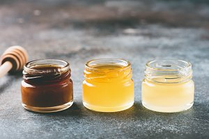 Honey in small jars