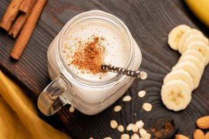 Banana milkshake or protein smoothie