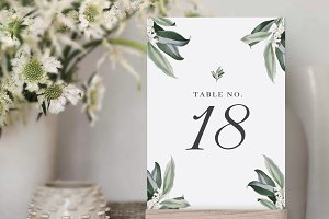 Table Numbers Template for Wedding