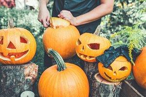 Halloween . Jack-o-Lantern. scary pu