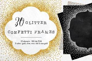 30 Metallic confetti frames