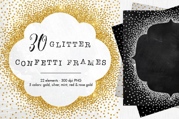 30 Metallic Confetti Frames Graphic Objects Creative Market