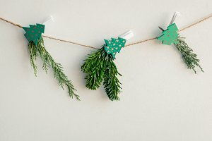 Christmas card with handmade natural