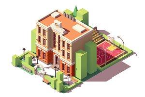 Vector isometric school building