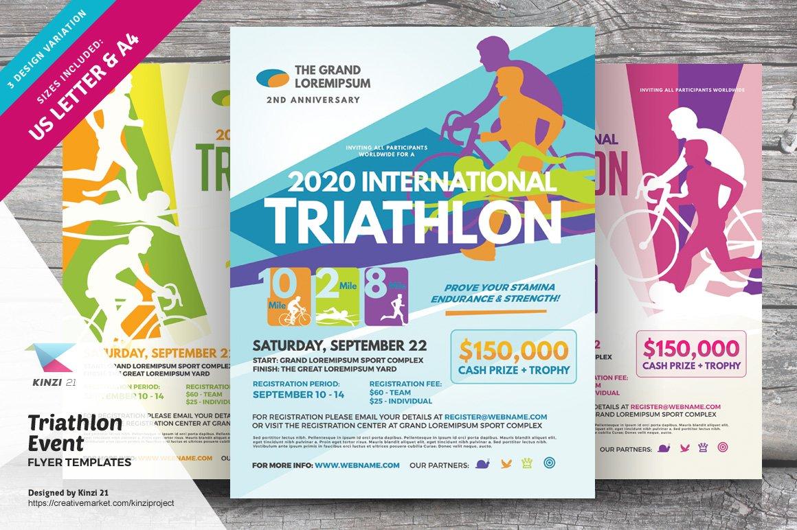 Triathlon Event Flyer Templates Flyer Templates Creative Market