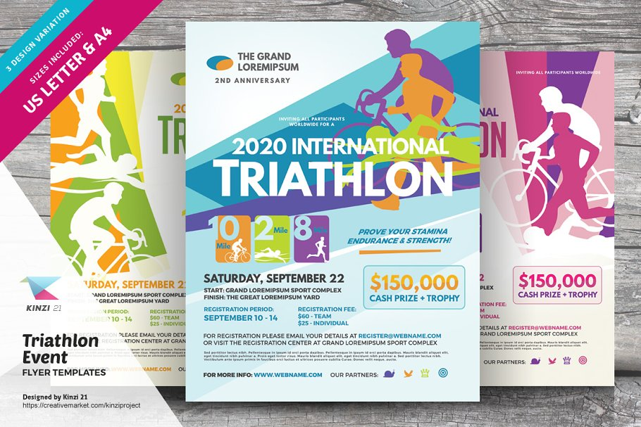 Triathlon Event Flyer Templates Creative Photoshop Templates