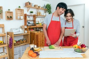 Happy Asian Lover or couple cooking