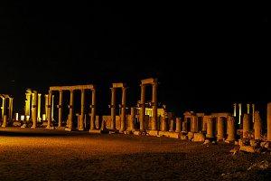 Night Panorama of Palmyra columns ,