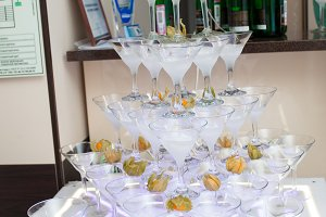 Pyramid from champagne glasses with