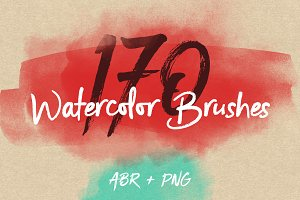 170 Watercolor Brushes Pack for PS