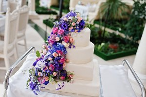 Wedding cake with purple and violet