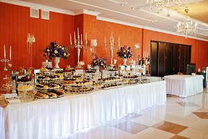 Luxury wedding reception tables with