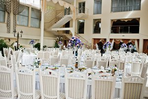 Awesome wedding hall with white chai
