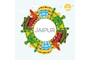 Jaipur India City Skyline with Color