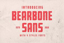 Bearbone Sans (8 Fonts Total!) by  in Sans Serif Fonts