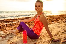 happy active fitness woman in sports