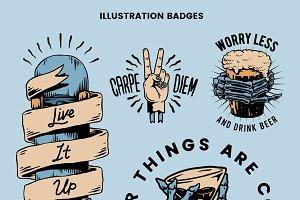 Cool retro motivational badge vector