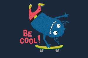 Skater cute monster vector design